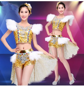Gold sequins paillette feather fashion women's ladies female competition modern dance jazz  night club singer cos play outfits costumes