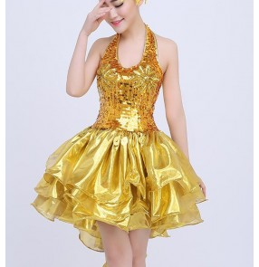 Gold sequins paillette glitter girls women's ladies sexy performance modern dance jazz singer ds dj prom cocktail  party  dancing dresses outfits clothes