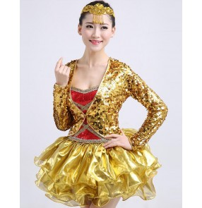 Gold sequins paillette glitter modern dance long sleeves fashion women's jazz singer dancers party competition dance dresses clothes