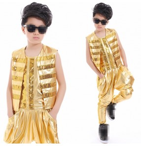 Gold silver 3in1 vest waistcoats harem pants glitter boys school drummer show competition hip hop jazz dance costumes outfits