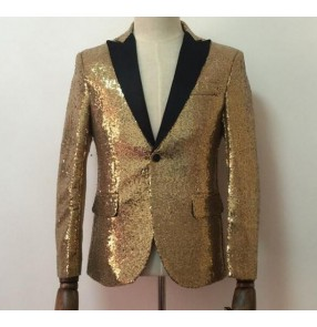 Gold silver black patchwork sequins paillette fashion long sleeves men's male competition night club bar performance dancing jazz singer party dance blazers jackets coats