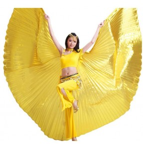 Gold silver black red fuchsia hot pink green women's girls satin shiny oriental sexy Egypt belly dance Isis big wings