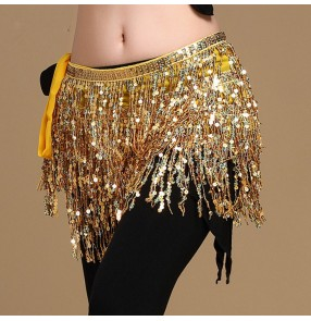 Gold silver black sequins fringes glitter women's ladies female Egypt competition latin belly dance wrap hip scarf skirts