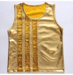 Gold silver glitter sequins patchwork boys kids children modern dance jazz singers hip hop dance vests tops