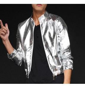 Gold silver leather glitter modern dance fashion men's male growth youth stage performance night club bar hip hop jazz singer dance short jackets coats