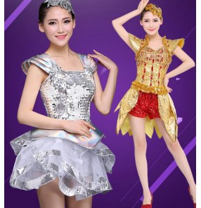 Gold silver red sequins paillette modern dance women's girl singer jazz dancers party performance outfits dresses