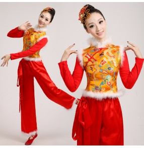 Gold yellow and red patchwork damask women's stage performance winter dragon pattern chinese folk style yangko drummer play dancing outfits costumes