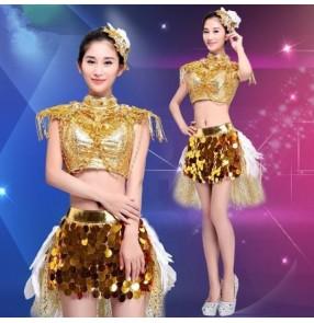 Gold yellow sequins paillette coins fashion women's girls modern dance ds dj singer hip hop dance outfits costumes dresses