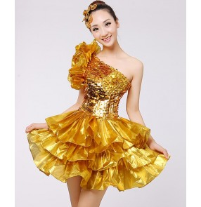Gold yellow sequins paillette glitter modern dance women's girls contest jazz dance singer dancers ds night club costumes dresses