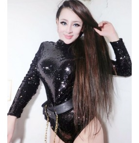 Green black white laser glitter sequins competition performance women's singer ds night club jazz dancing outfits jumpsuits bodysuits