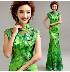 Green embroidery pattern side split long length women's chinese style wedding evening party cocktail cheongsam dresses