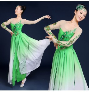Green flesh gradient colored girls women's competition Chinese folk yangko fan traditional fairy dancing dresses costumes clothes