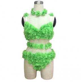 Green flowers rose handmade sexy women's ladies competition dj singers hot dance dancers ds night club jazz bar dancing underwear outfits