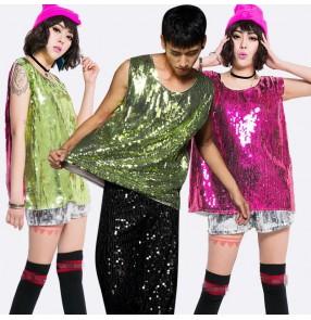 Green fuchsia hot pink patchwork sequins paillette boys girls women's men male modern jazz singer hip hop dancing vests tops