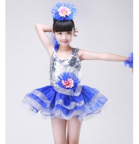 Green fuchsia hot pink red yellow turquoise royal blue silver sequins pattern flowers modern dancing girls kids children stage performance party cos play dance dresses