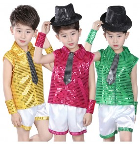 Green gold turquoise yellow red fuchsia sequins paillette boys kids children modern dance competition jazz dance outfits