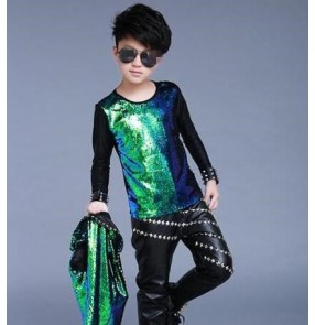 Green gradient  long sleeves patchwork boys kids children performance competition jazz competition singer drummer tops t shirts