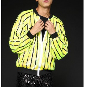 Green light blue sequins striped paillette long sleeves men's male performance jazz singer night club hip hop dancing tops jackets