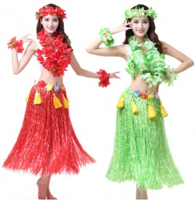 Green orange red blue yellow colored women's adult flowers hawaii beach fancy dancing cosplay dancing hula grass dance skirts dresses