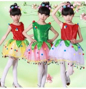 Green red yellow sequins pailette glitter fashion girls kids children petal modern dance jazz singer dancers performance cosplay jazz dance dresses outfits