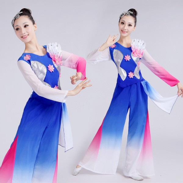 Green royal blue turquoise white women s gradient colored traditional  Chinese folk dance yangko fan fairy dancing costumes outfits clothes dcca50048