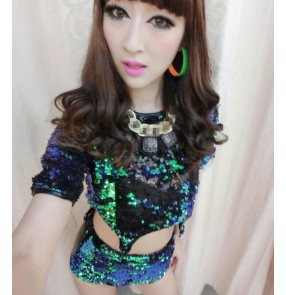 Green sequins black leather shorts patchwork sexy fashion women's girls singer glitter jazz hip hop performance dancing outfits costumes