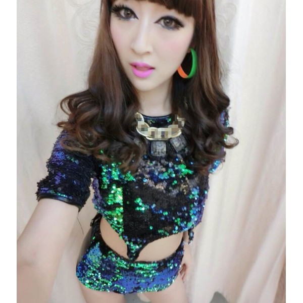 dfac4e3d94d7 Green sequins black leather shorts patchwork sexy fashion women's girls  singer glitter jazz hip hop performance dancing outfits costumes