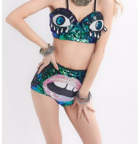 Green sequins laser printed fashion sexy  girls women's ladies singers dancers jazz ds night club cosplay dancing outfits costumes