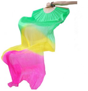 Green yellow fuchsia gradient colored long length women's girls indian Egypt belly dance silk fans accessories 1.8m
