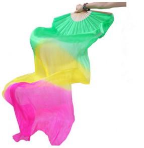 Green yellow fuchsia gradient colored long length women's girls indian Egypt belly dance silk fans accessories 1.8m