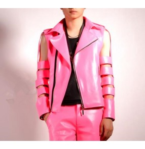 Hot pink colored men's boys fashion personality modern dance drummer hip hop punk rock pole dance jazz singer show performance jackets tops