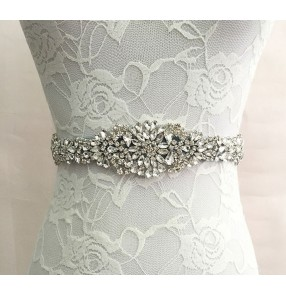 Ivory white dark wine silver black crystal rhinestones beaded women's bridal bridesmaid evening dress ribbon waist band sashes