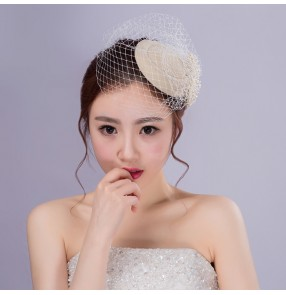 Ivory wool beaded bowknot elegant handmade women's fashion cocktail wedding party bridal brides church pillbox veil top hats fedoras