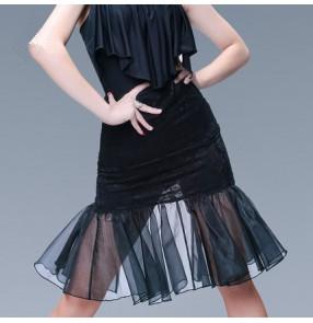 Lace ruffles hem mermaid sexy fashion women's girls competition salsa cha cha latin dance skirts