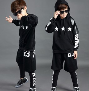 Leather black 3in1 boys kids children fashion long sleeves stage performance school play jazz singer hip hop street dance costumes outfits