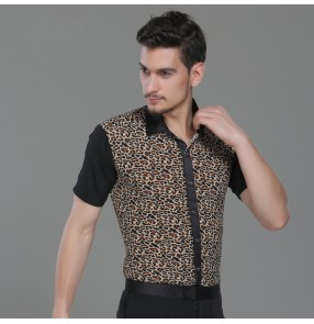 Leopard printed patchwork short sleeves fashion men's male competition practice latin ballroom dance tops shirts