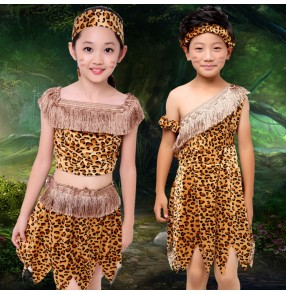 Leopard printed sexy girls boys kid children indian princess African hunter soldier performance warrior Savage party cosplay dance costumes dresses outfits