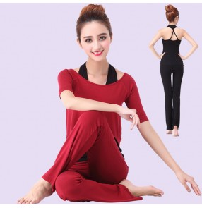 Light blue wine red fuchsia black short sleeves 3in1 women's girls modal sports gyms jogging fitness gymnastics yoga clothes clothing