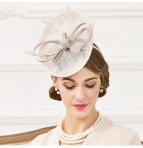 eeeefdd139a Light gray silver Women s bride red sinamay pillbox hat fedoras wedding  party socialite top hat