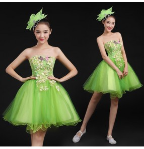 Light green lace appliques off shoulder lace up back fashion modern dance girls women's jazz singer dancers cosplay performance dresses outfits