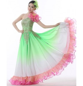 Light green pink gradient colored one shoulder gold embroidery appliques women's ladies folk bull dance Spanish flamenco dancing long dresses