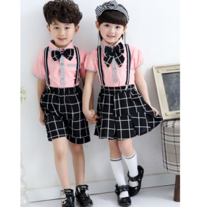 Light pink black and white plaid patchwork England style girls boys kids children kindergarten school chorus play performance outfits costumes