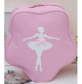 Light pink canvas water proof girls kids children ballet dance double shoulder cute star pointe bags backpacks