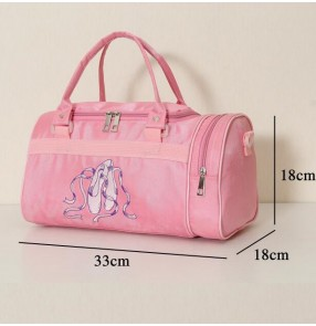 Light pink canvas waterproof shoes embroidery decor girls children kids baby ballet dance cross body bags clothes duffle bags