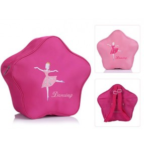 Light pink fuchsia  princess  girls kids children cute star style ballet dance bags double shoulder water proof canvas backpacks