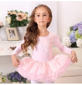 Light pink Lace embroidery pattern long sleeves girls kids children princess competition performance ballet tutu skirted dance dresses costumes