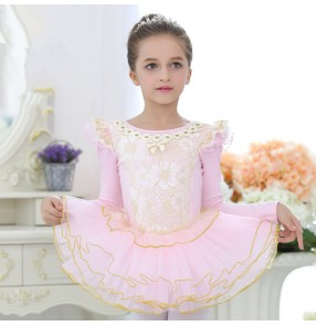 Light pink lace patchwork cotton long sleeves competition gymnastics tutu skirted ballet dance dresses outfits