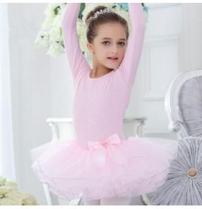 Light pink lace patchwork cotton long sleeves girls kids children gymnastics princess ballet dance dresses leotards tutu skirts