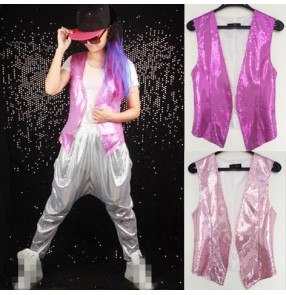 Light pink silver purple sequins paillette fashion girls women's female competition glitter stage performance hip hop jazz singer dancing vest waistcoat