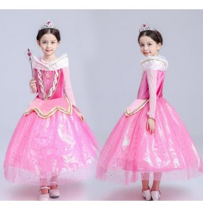 Light pink Velvet long sleeves girls kids children princess toddlers growth fairy Christmas party evening cosplay dancing dresses outfits costumes